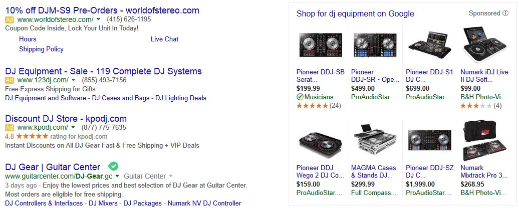 dj equipment adwords