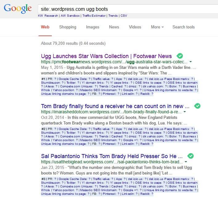 indexed pages search results