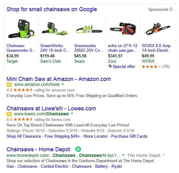 "Top 3 Results of ""small chainsaws"" on google"