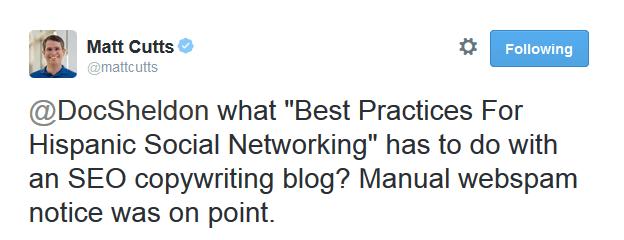 matt-cutts-tweet on unrelvant content