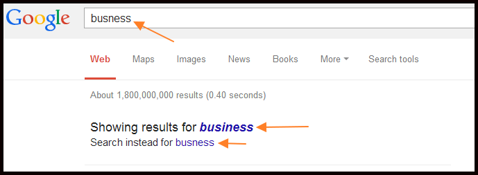 mispelled detected by google