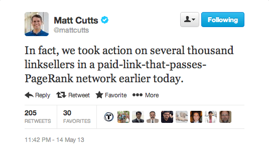 matt-cutts-link-sellers-action-tweet