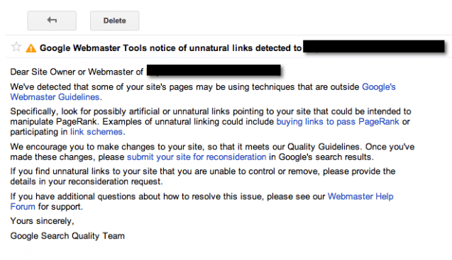 manual penalty from google