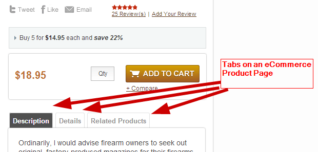tabbed format hidden content on ecommerce site