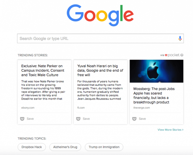 new-feature-of-pocket-displays-trending-topics-on-the-google-homepage